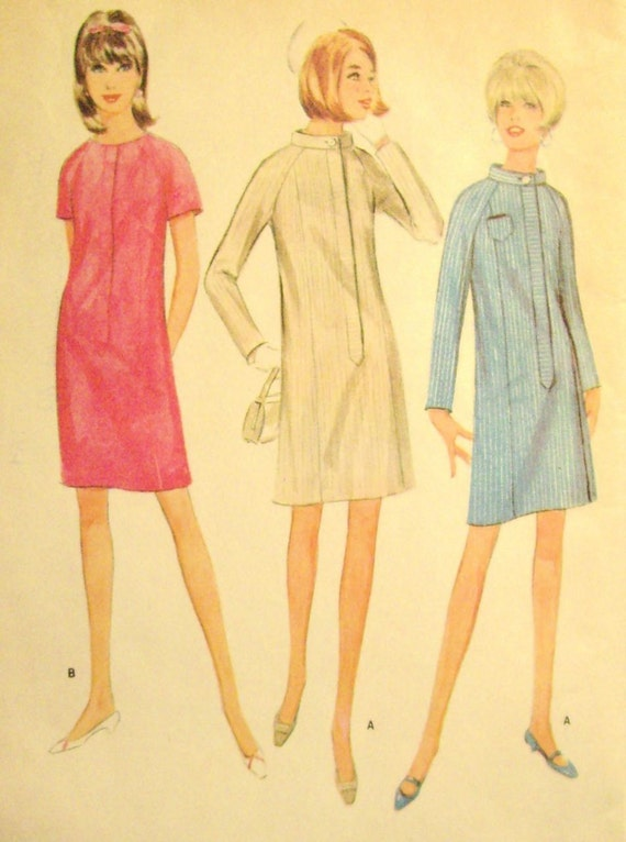 McCalls 8862 1960's Vintage Above Knee Dress Pattern Slim 6 Panel Front Zipper Dress with Stand Up Collar - Size 16 -Bust 36 - Medium 1967