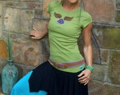 SALE Angel WINGS shirt LOTUS t shirt yoga shirt kiwi green cotton t shirt hippie vibrant colors bohemian hand painted embroidered