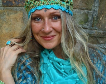 Luxe IRIDESCENT BEANIE hat Crochet Green Turquoise FAIRY beanie Bohemian hat scalloped beanie Stretchy hat skullcap womens fashion GPyoga