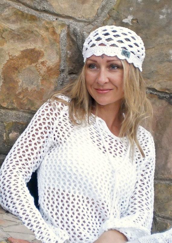 WHITE cotton BEANIE hat for Kundalini sadhana kufi hat crochet  womens beanie scalloped made to order