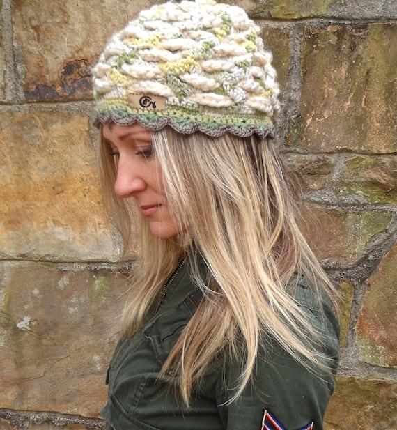 BEIGE green BOHEMIAN BEANIE hat, Cotton Beanie, interwoven pattern, hand crochet, Hippie Gypsy Funky hat