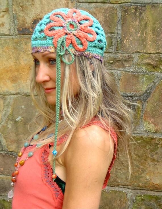 HIPPIE FLOWER turquoise BEANIE hat with interwoven headband crochet cotton hat made to order