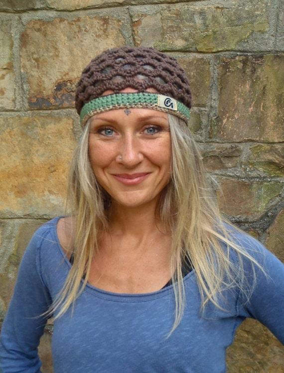 BOHO CHIC BEANIE earthy brown green cotton hat Crochet Beanie Kufi hat hippie bohemian Skullcap made to order