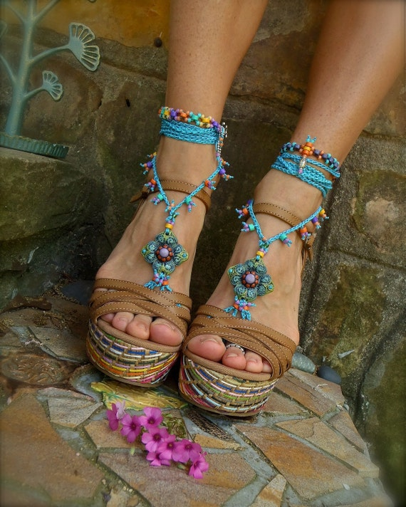 NEW blue BAREFOOT SANDALS summer crochet sandals beaded sandals foot jewelry beach wedding bohemian gypsy shoes photo shoot props