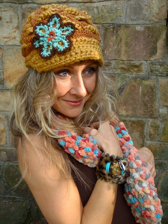 SLOUCH BEANIE hat flower cap NEWSBOY hat interwoven pattern hippie gypsy funky hat mustard yellow brown