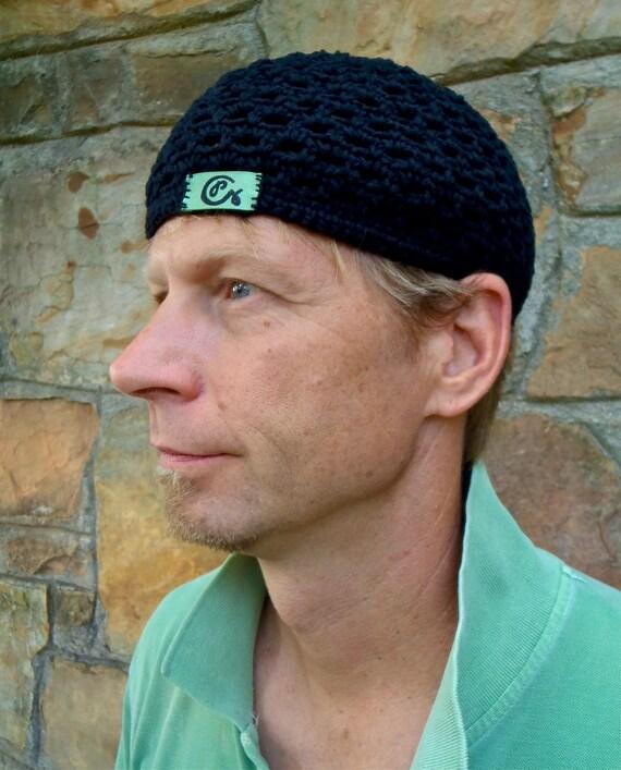 BLACK cotton BEANIE for MEN crochet Cotton hat kufi cap Skullcap urban hat outdoorsman