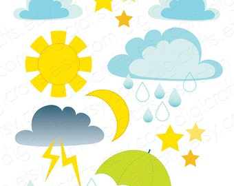 Weather and Sky Clip Art - Printable and Digital