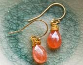 Orange carnelian & gold earrings