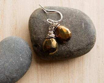 Earrings - chocolate brown gemstones & sterling silver