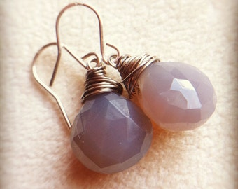 Earrings - milky lavender grey crystal gemstones