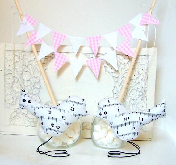 Cake Topper Banner, Mini Cake Party Bunting, Wedding Cake Topper Birthday Cake Garland, Baby Shower Banner, Pink Gingham, White Eyelet Lace