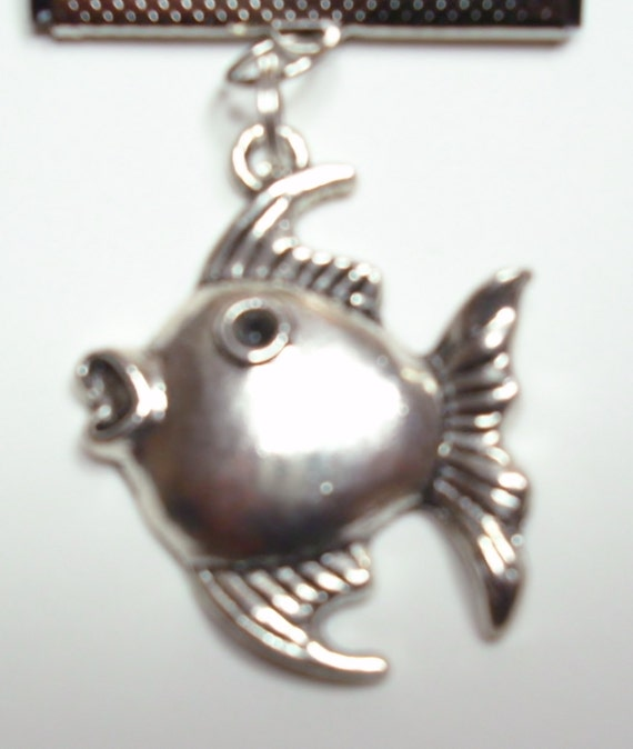 Bookmark Fish Starfish Leather Charm Book Thong Black Silver Handmade Bookmark