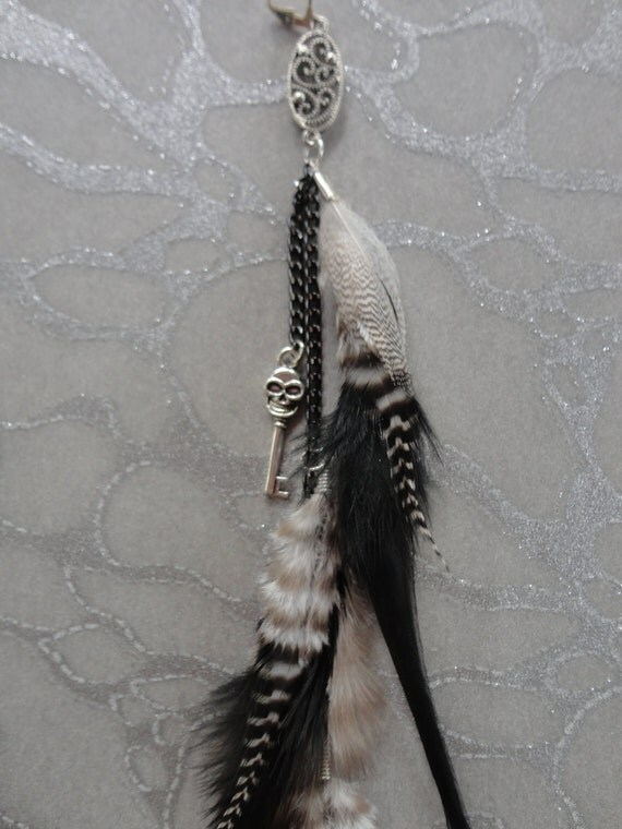 Feather Hair Extension Clip - Feathers with Grizzly Stripes of Black & White on Chain w Steampunk Skull headed Pirate