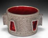 SOLD--Handmade Ceramic Vessel with Blood Red Glaze