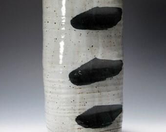 Handmade Black & White Stoneware Ceramic Vase - Asian Inspired 11-022