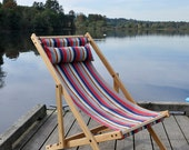 SALE white oak deck chair with OOAK fabric designed by gallant and jones
