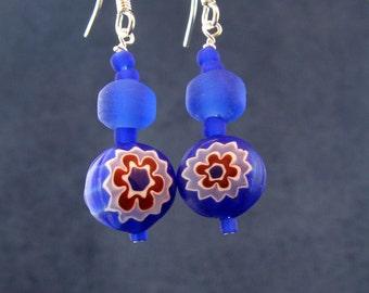 Cobalt & Crimson Millefiori Earrings E169