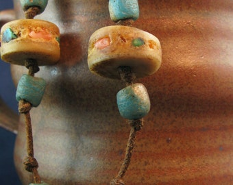 Turquoise & Coral Inlaid Bone Discs Necklace N130