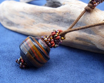 Caramel Mocha Swirl: Glass and Seed Beads Adjustable Cord Necklace N224