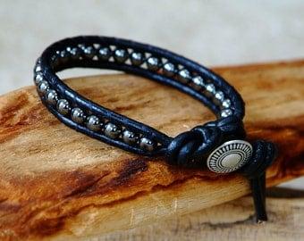 Men's Leather Wrap Bracelet, Hematite beaded leather bracelet, single wrap