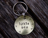 Custom Hand Stamped Pet ID Tag / Cat ID Tag - Little Bee - in 1'' Brushed Brass