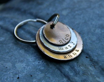 Custom Stamped Keychain - A Rustic Family - in Layered Bronze & Brushed Nickel