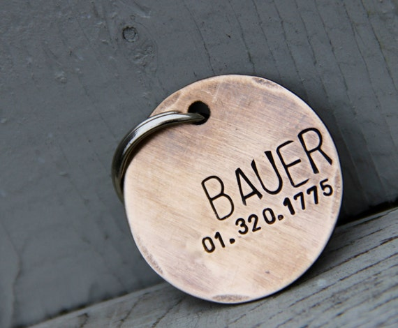 Custom Pet ID Tag - Bauer - in Brushed 1.25'' Bronze