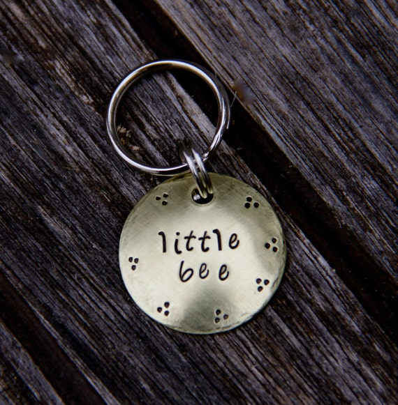 Custom Dog ID Tag / Cat ID Tag - Little Bee - in 1'' Brushed Brass