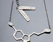 Serotonin Chemical Structure Necklace in Sterling Silver