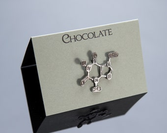 Chocolate Chemical Structure Pin in Sterling Silver