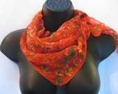 Fall Fashion Vintage MORGLY Scarf  Retro Chic 1970's  70's  Red Orange Floral Scarf  Made in Japan 25.5  x 25.5  inches  FREE SHIPPING