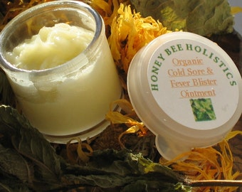 Organic Cold Sore Fever Blister Healing Ointment made with Organic Lemon Balm grown on our Farm 1/2 oz.