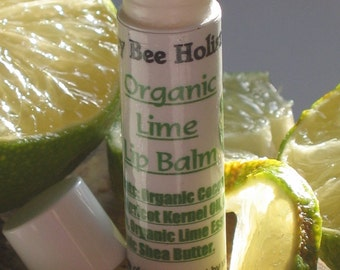 Organic Lime Lip Balm made with Fair Trade Shea butter and Local Beeswax in a twist tube