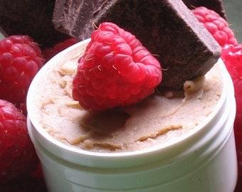 Sensual Organic Chocolate Raspberry Edible Body Butter 1 1/2 oz size - NOW MORE chocolatey w/ Organic Cocoa - Featured on ETSYLUSH.com