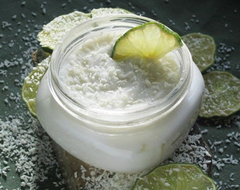 MADE TO ORDER//Organic Coconut Lime Lotion -- Generous 8 oz. Jar- A Creamy Tropical Delight for your senses
