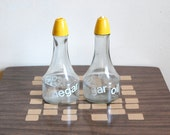 CLEARANCE SALE - Vintage Oil and Vinegar Cruet Set - Glassware - Bold White Typography and Bright Yellow Caps