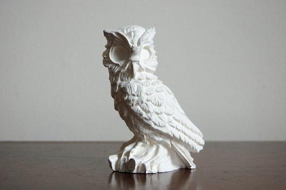 Vintage Owl Figurine - Heavy White Ceramic Owl