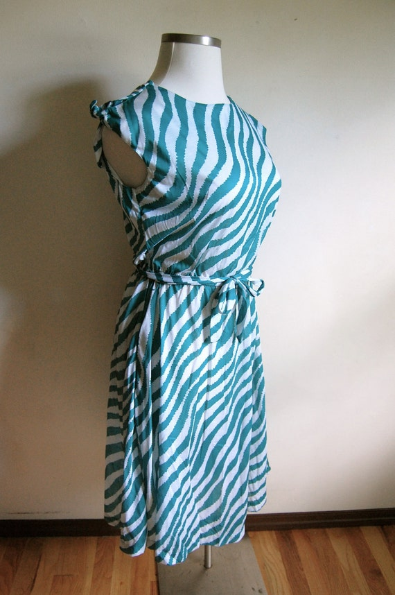 BLACK FRIDAY SALE - Vintage Dress - Teal and White Zebra Stripe Dress with Cut Out Sleeves - Darian - Size Medium/Large - Cyber Monday Sale