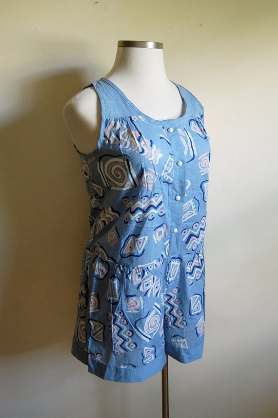 LAST CHANCE SALE - Vintage Romper - Blue Abstract Pattern Sleeveless Romper - Anne Leslie - Size Medium/Large - Shop Closing Sale