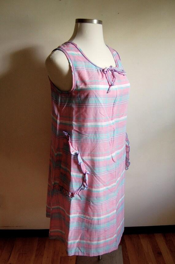 35% off CLEARANCE SALE - Vintage House Dress - Pink Pastel Striped Pattern Tank Dress - Springmaid - Size Large/Xlarge