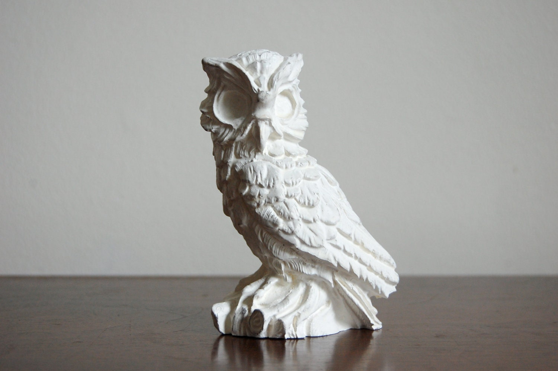 Vintage Owl Figurine Heavy White Ceramic Owl