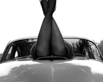 Pin Up Photograph, Hot Rod Girl, Rockabilly, Fine Art Photograph, Retro, classic car, legs, fishnets, sexy, print, photo, old car, Car art