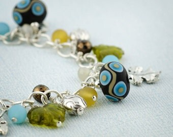 Bracelet - Sterling Silver - Charm - lampwork - art glass - leaves - blue - brown - gold - green - autumn - artisan - Leaves of Moss & Love