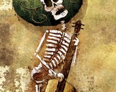 Dia de los Muertos Calavera Bassist - 12x18 Officially Signed, Dated and Hand-Stamped Art Print