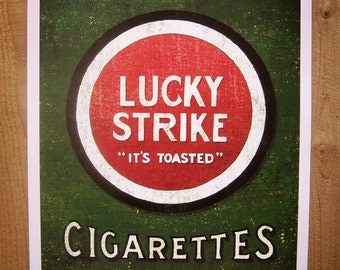 Classic Lucky Strike Sign Painting - 12x18 High Quality Art Print