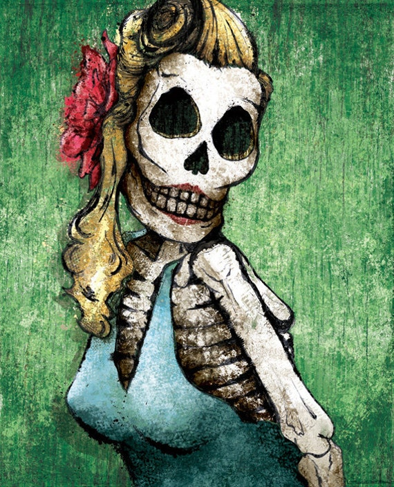Dia de los Muertos Calavera Pinup - 12x18 High Quality Art Print