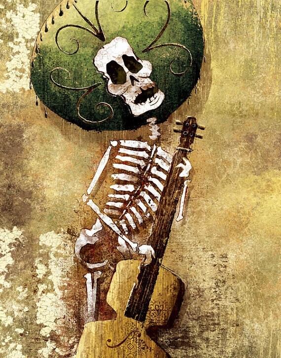 Dia de los Muertos Calavera Bassist - 18x24 art poster print