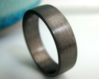 Wedding Band - 5mm to 6mm Wide - Black Gold Plated 925 Sterling Silver - Engraveable Men's Wedding Band - Flat Tube Ring - Wedding Bands
