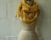 Yellow Scarf, Spring Fashion Accessories, Text Printed Large Scarf