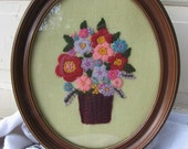 Vintage Crewel Picture 70's Embroidered  Flower Oval  from Tessiemay